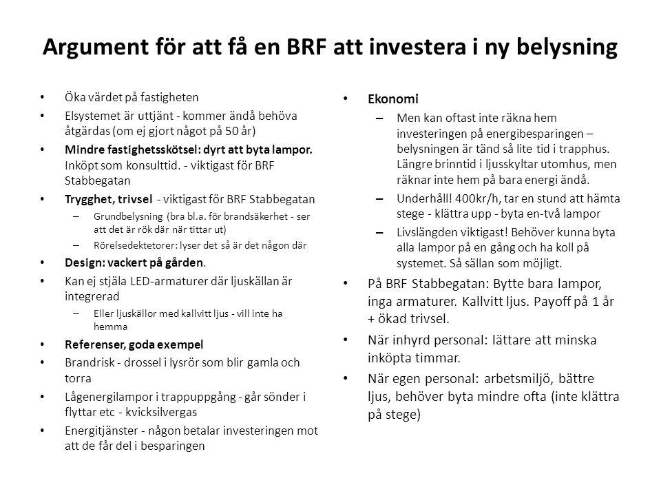 Argument för att få en BRF att investera i ny belysning • Öka värdet på fastigheten • Elsystemet är uttjänt - kommer ändå behöva åtgärdas (om ej gjort