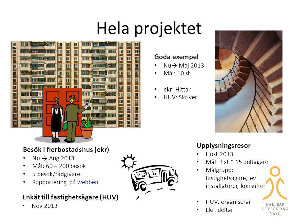 Hela projektet Besök i flerbostadshus (ekr) • Nu → Aug 2013 • Mål: 60 – 200 besök • 5 besök/rådgivare • Rapportering på webbenwebben Goda exempel • Nu