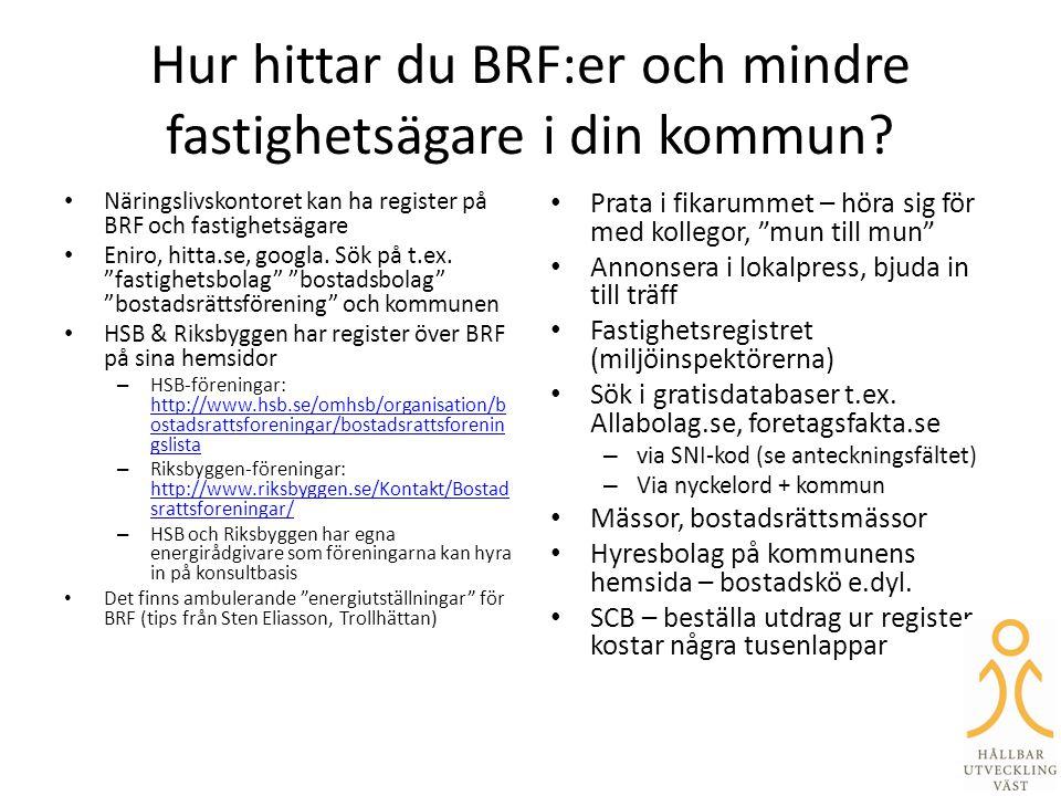 Hur hittar du BRF:er och mindre fastighetsägare i din kommun? • Näringslivskontoret kan ha register på BRF och fastighetsägare • Eniro, hitta.se, goog