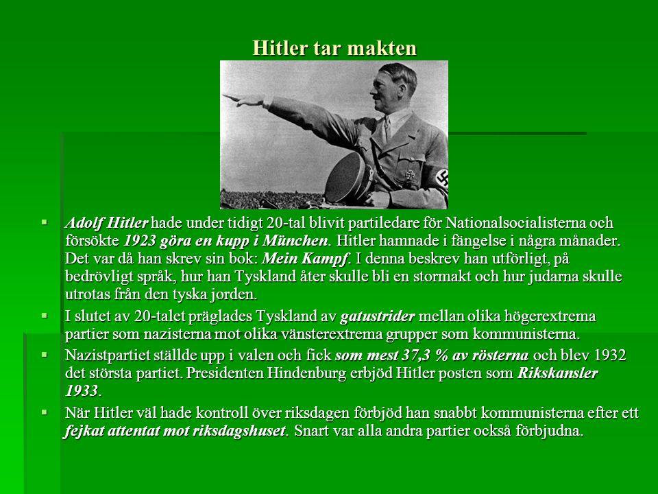 Hitler tar makten  Adolf Hitler hade under tidigt 20-tal blivit partiledare för Nationalsocialisterna och försökte 1923 göra en kupp i München. Hitle