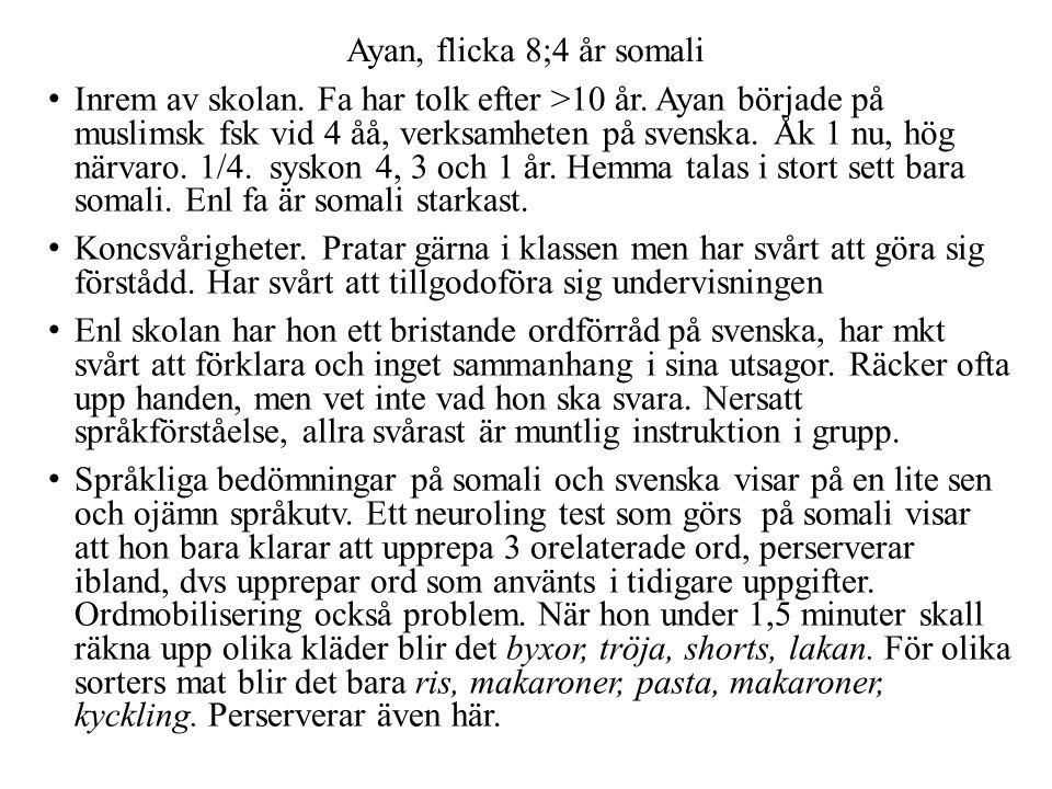 Ayan, flicka 8;4 år somali • Inrem av skolan. Fa har tolk efter >10 år. Ayan började på muslimsk fsk vid 4 åå, verksamheten på svenska. Åk 1 nu, hög n