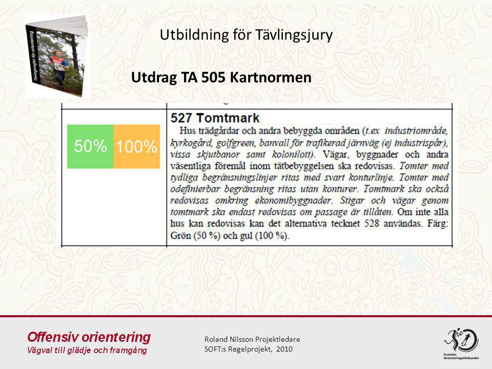 Utbildning för Tävlingsjury Roland Nilsson Projektledare SOFT:s Regelprojekt, 2010 Utdrag TA 505 Kartnormen