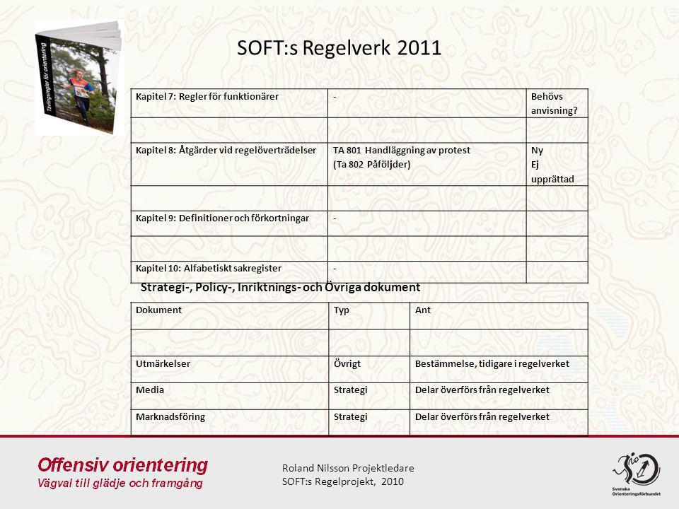 SOFT:s Regelverk 2011 Roland Nilsson Projektledare SOFT:s Regelprojekt, 2010 Kapitel 7: Regler för funktionärer- Behövs anvisning? Kapitel 8: Åtgärder