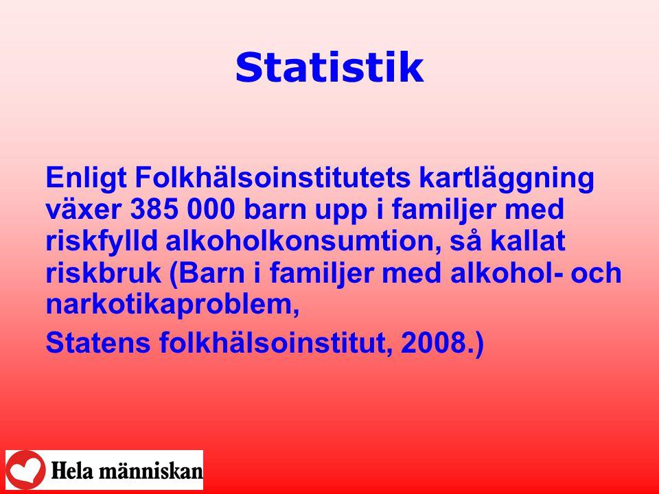 Statistik Enligt Folkhälsoinstitutets kartläggning växer 385 000 barn upp i familjer med riskfylld alkoholkonsumtion, så kallat riskbruk (Barn i famil