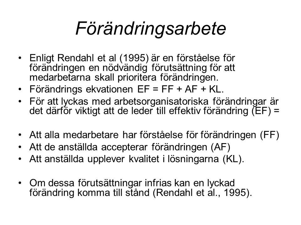 Förändringsarbete •Enligt Rendahl et al (1995) är en förståelse för förändringen en nödvändig förutsättning för att medarbetarna skall prioritera förändringen.