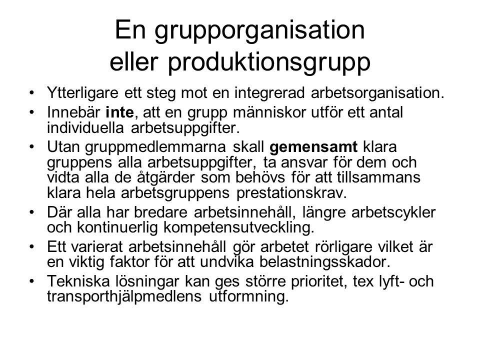 En grupporganisation eller produktionsgrupp •Ytterligare ett steg mot en integrerad arbetsorganisation.