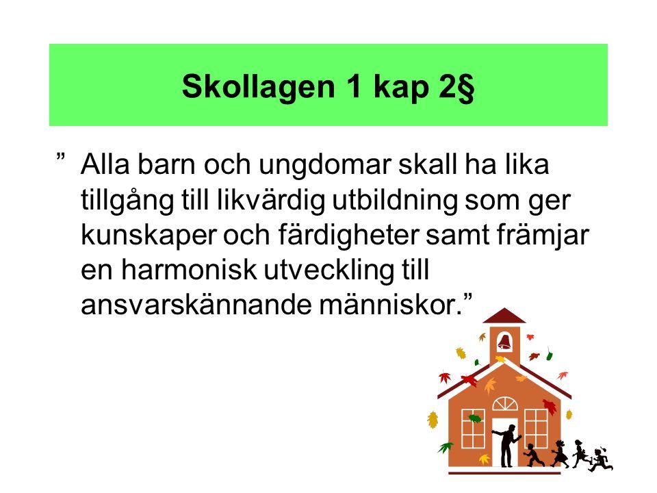 """11 Skollagen 1 kap 2§ """"Alla barn och ungdomar skall ha lika tillgång till likvärdig utbildning som ger kunskaper och färdigheter samt främjar en harmo"""