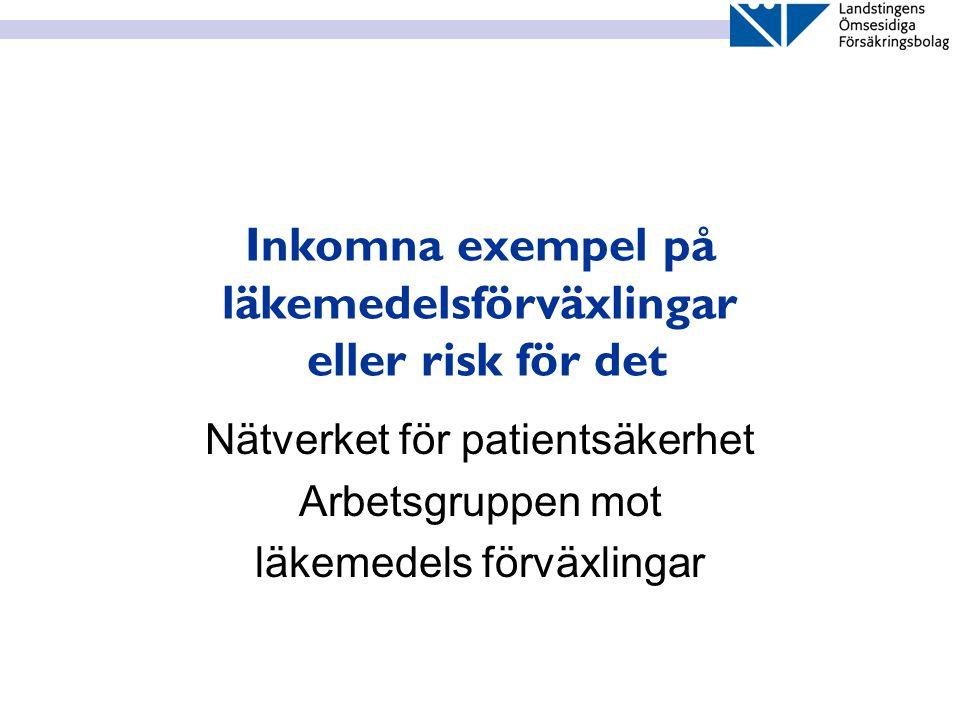 Inkomna exempel på läkemedelsförväxlingar eller risk för det Nätverket för patientsäkerhet Arbetsgruppen mot läkemedels förväxlingar
