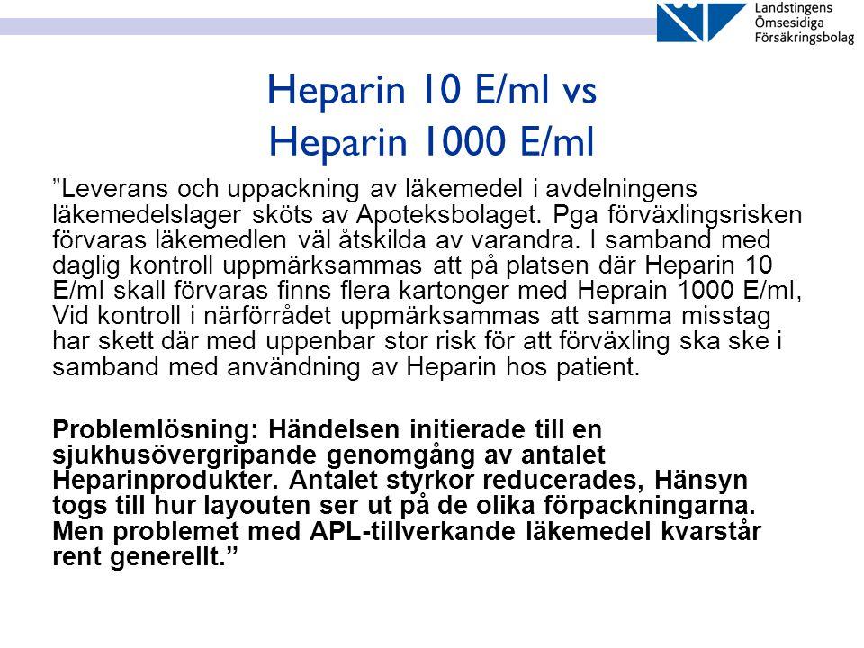 """Heparin 10 E/ml vs Heparin 1000 E/ml """"Leverans och uppackning av läkemedel i avdelningens läkemedelslager sköts av Apoteksbolaget. Pga förväxlingsrisk"""