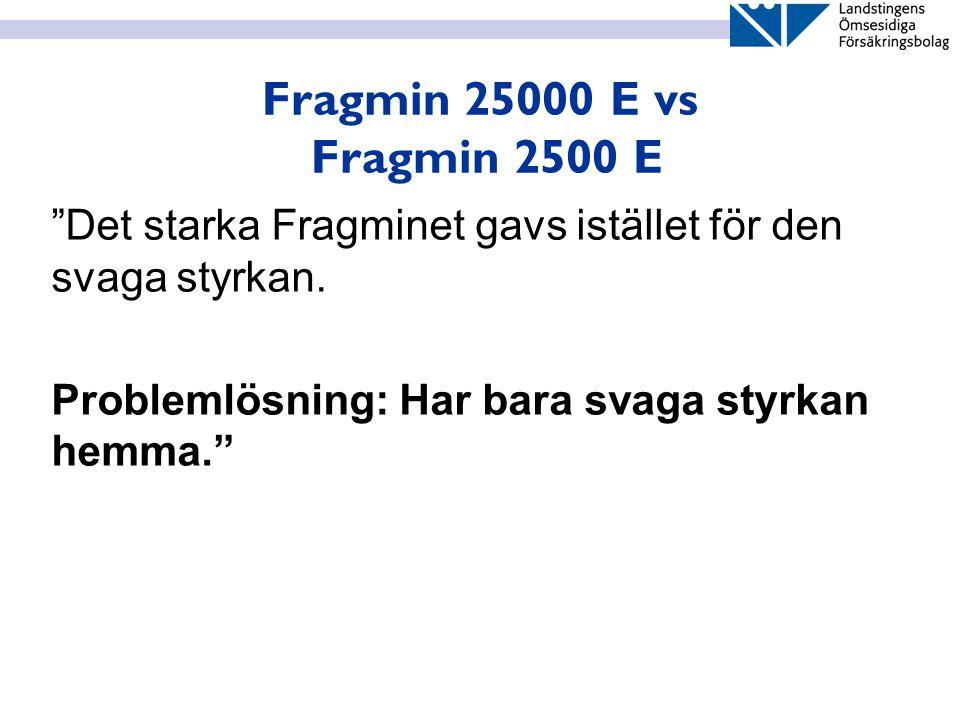 """Fragmin 25000 E vs Fragmin 2500 E """"Det starka Fragminet gavs istället för den svaga styrkan. Problemlösning: Har bara svaga styrkan hemma."""""""