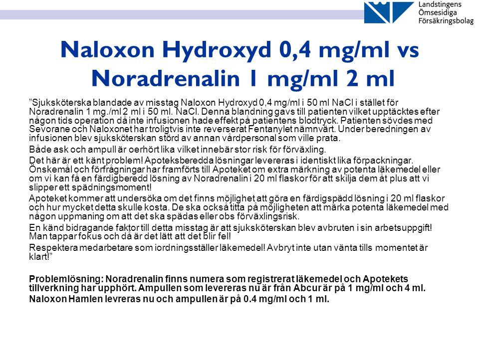 """Naloxon Hydroxyd 0,4 mg/ml vs Noradrenalin 1 mg/ml 2 ml """"Sjuksköterska blandade av misstag Naloxon Hydroxyd 0,4 mg/ml i 50 ml NaCl i stället för Norad"""