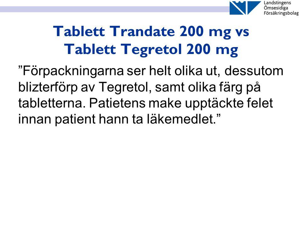 """Tablett Trandate 200 mg vs Tablett Tegretol 200 mg """"Förpackningarna ser helt olika ut, dessutom blizterförp av Tegretol, samt olika färg på tablettern"""