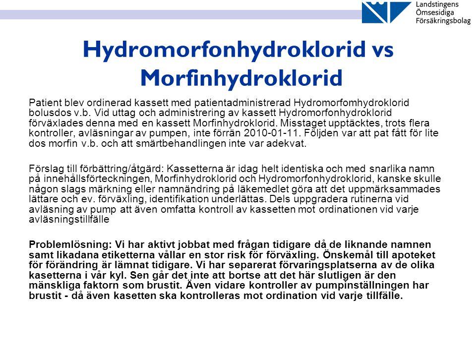 Hydromorfonhydroklorid vs Morfinhydroklorid Patient blev ordinerad kassett med patientadministrerad Hydromorfomhydroklorid bolusdos v.b. Vid uttag och