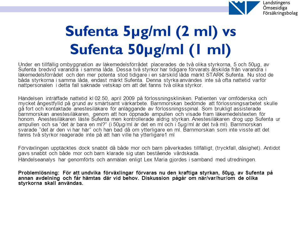 Sufenta 5µg/ml (2 ml) vs Sufenta 50µg/ml (1 ml) Under en tillfällig ombyggnation av läkemedelsförrådet placerades de två olika styrkorna, 5 och 50µg,