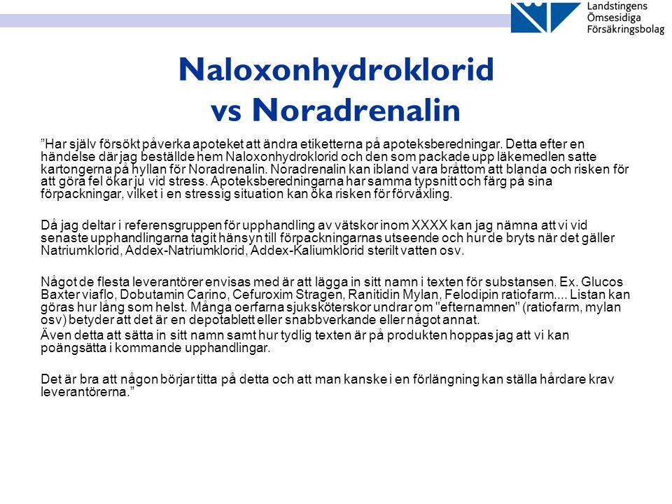 """Naloxonhydroklorid vs Noradrenalin """"Har själv försökt påverka apoteket att ändra etiketterna på apoteksberedningar. Detta efter en händelse där jag be"""