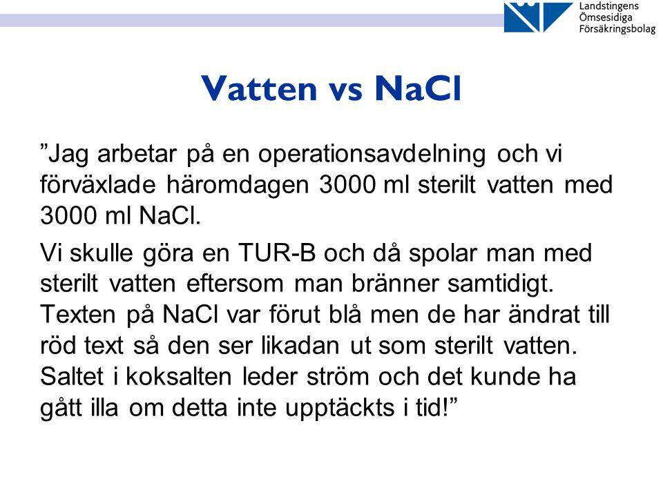 """Vatten vs NaCl """"Jag arbetar på en operationsavdelning och vi förväxlade häromdagen 3000 ml sterilt vatten med 3000 ml NaCl. Vi skulle göra en TUR-B oc"""