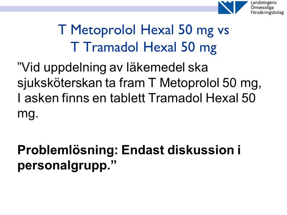 """T Metoprolol Hexal 50 mg vs T Tramadol Hexal 50 mg """"Vid uppdelning av läkemedel ska sjuksköterskan ta fram T Metoprolol 50 mg, I asken finns en tablet"""