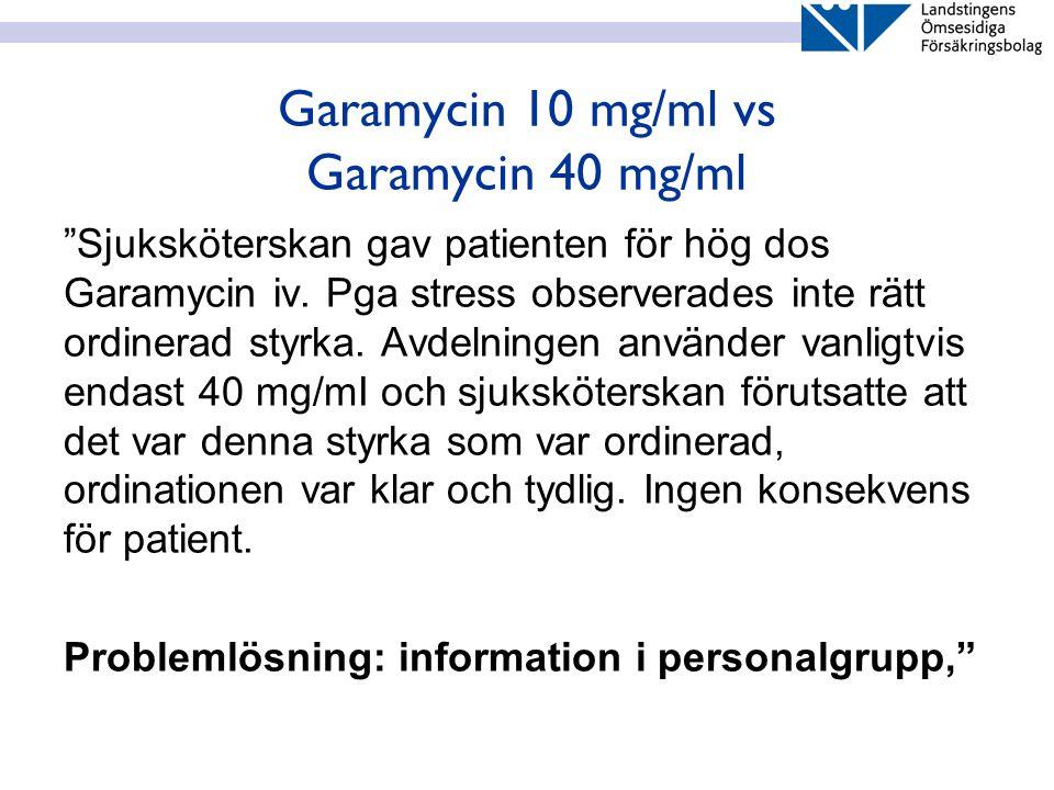 """Garamycin 10 mg/ml vs Garamycin 40 mg/ml """"Sjuksköterskan gav patienten för hög dos Garamycin iv. Pga stress observerades inte rätt ordinerad styrka. A"""