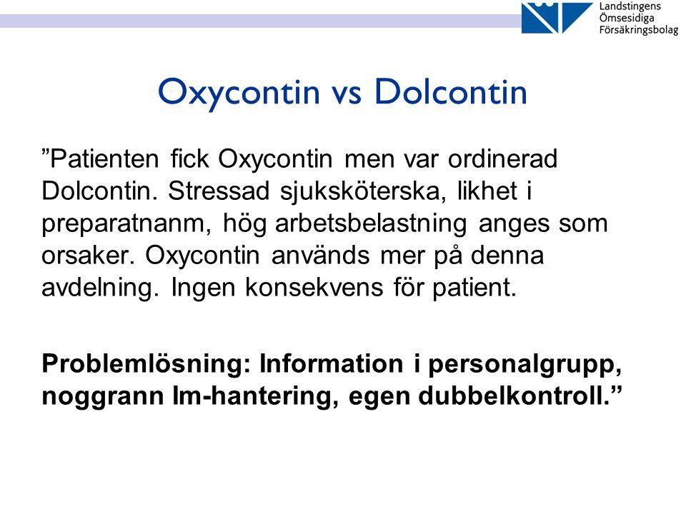 """Oxycontin vs Dolcontin """"Patienten fick Oxycontin men var ordinerad Dolcontin. Stressad sjuksköterska, likhet i preparatnanm, hög arbetsbelastning ange"""