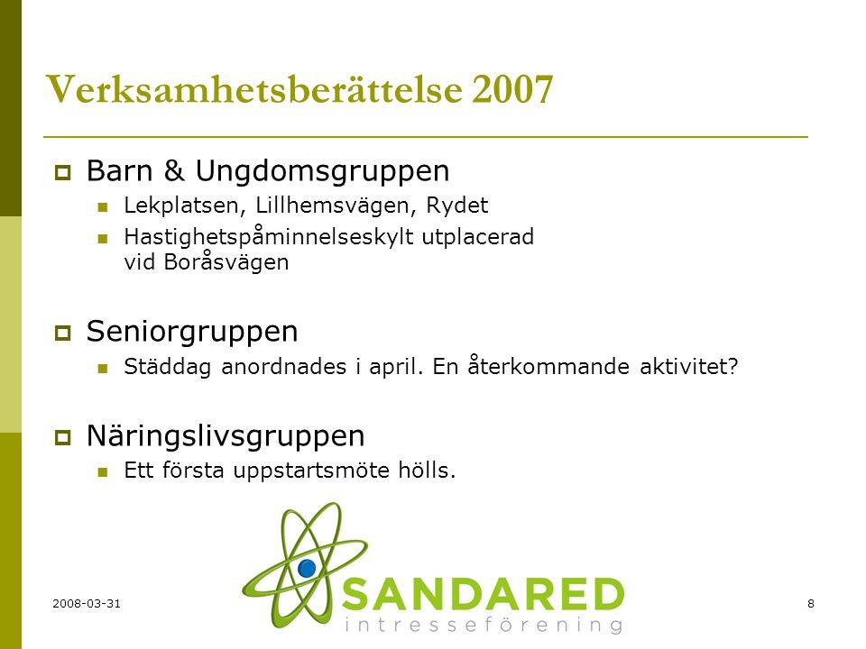 2008-03-318 Verksamhetsberättelse 2007  Barn & Ungdomsgruppen  Lekplatsen, Lillhemsvägen, Rydet  Hastighetspåminnelseskylt utplacerad vid Boråsväge