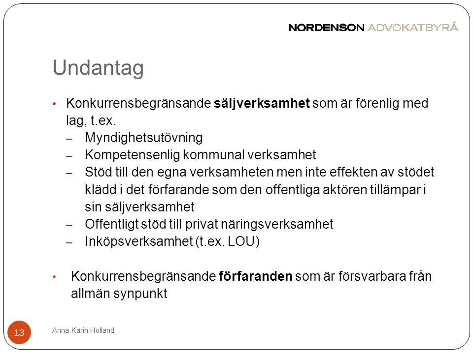 Undantag Anna-Karin Holland 13 • Konkurrensbegränsande säljverksamhet som är förenlig med lag, t.ex. – Myndighetsutövning – Kompetensenlig kommunal ve