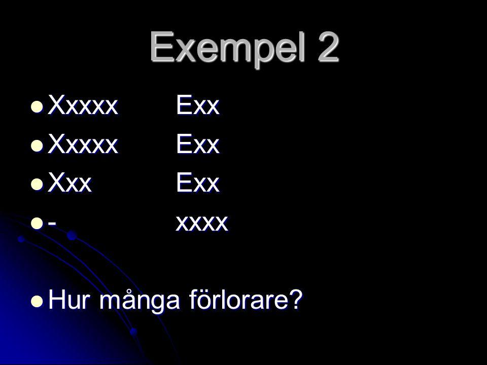 Exempel 2  XxxxxExx  XxxExx  -xxxx  Hur många förlorare?