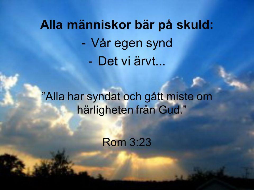 """Alla människor bär på skuld: -Vår egen synd -Det vi ärvt... """"Alla har syndat och gått miste om härligheten från Gud."""" Rom 3:23"""