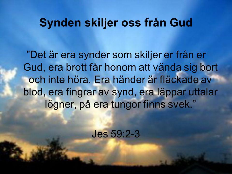 """Synden skiljer oss från Gud """"Det är era synder som skiljer er från er Gud, era brott får honom att vända sig bort och inte höra. Era händer är fläckad"""