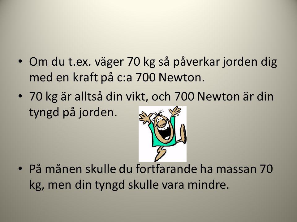 • Om du t.ex. väger 70 kg så påverkar jorden dig med en kraft på c:a 700 Newton. • 70 kg är alltså din vikt, och 700 Newton är din tyngd på jorden. •