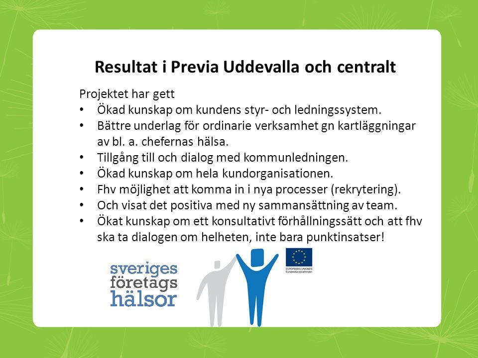 Resultat i Previa Uddevalla och centralt Projektet har gett • Ökad kunskap om kundens styr- och ledningssystem. • Bättre underlag för ordinarie verksa