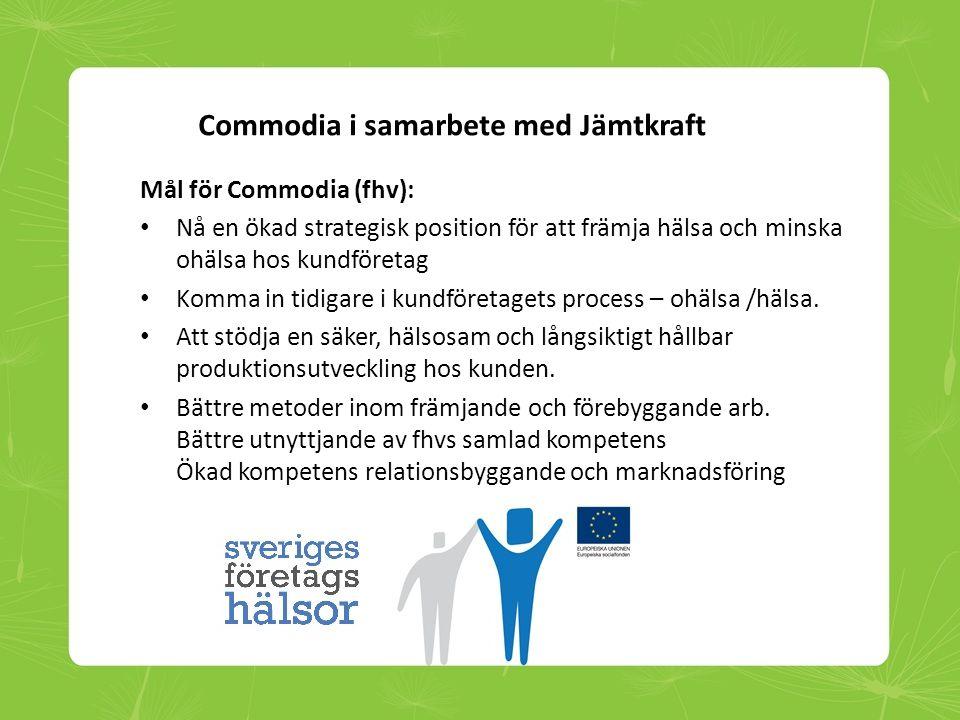 Commodia i samarbete med Jämtkraft Mål för Commodia (fhv): • Nå en ökad strategisk position för att främja hälsa och minska ohälsa hos kundföretag • K