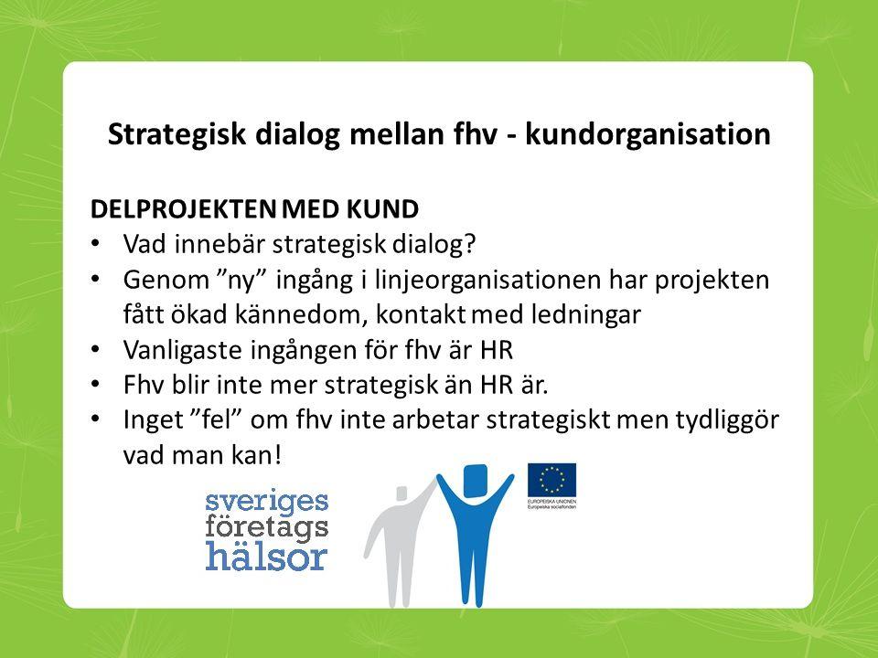 """Strategisk dialog mellan fhv - kundorganisation DELPROJEKTEN MED KUND • Vad innebär strategisk dialog? • Genom """"ny"""" ingång i linjeorganisationen har p"""