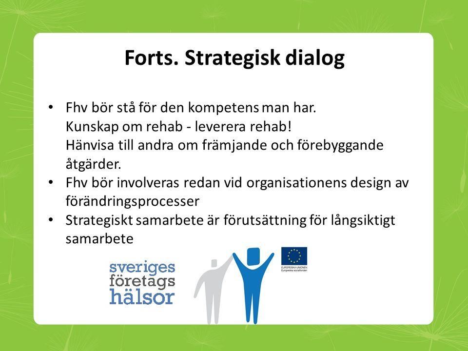Forts. Strategisk dialog • Fhv bör stå för den kompetens man har. Kunskap om rehab - leverera rehab! Hänvisa till andra om främjande och förebyggande