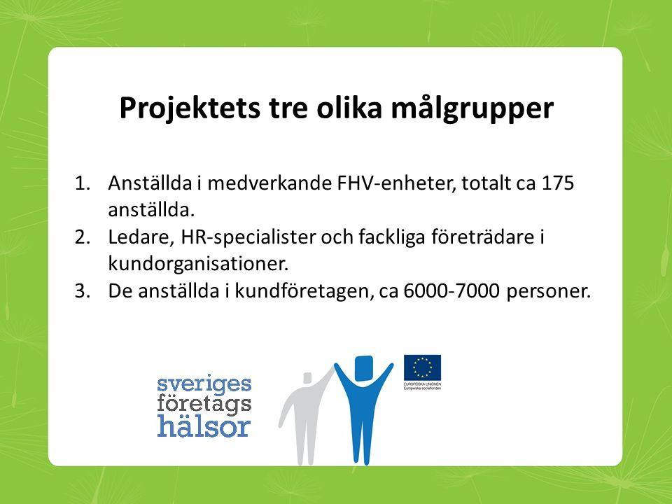 Projektets tre olika målgrupper 1.Anställda i medverkande FHV-enheter, totalt ca 175 anställda. 2.Ledare, HR-specialister och fackliga företrädare i k