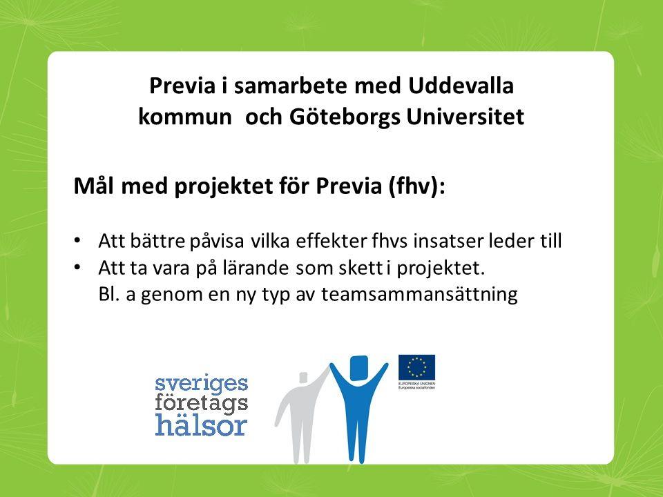 Previa i samarbete med Uddevalla kommun och Göteborgs Universitet Mål med projektet för Previa (fhv): • Att bättre påvisa vilka effekter fhvs insatser