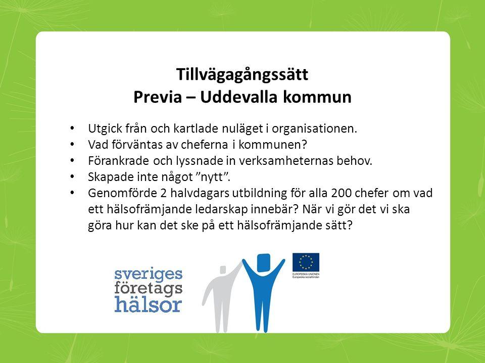Tillvägagångssätt Previa – Uddevalla kommun • Utgick från och kartlade nuläget i organisationen. • Vad förväntas av cheferna i kommunen? • Förankrade