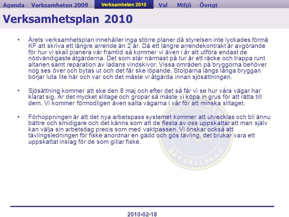 Verksamheten 2009ValVerksamheten 2010MiljöAgendaÖvrigt 2010-02-18 Verksamhetsplan 2010 •Årets verksamhetsplan innehåller inga större planer då styrels