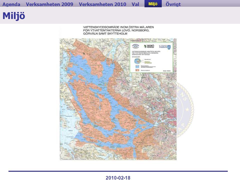 Verksamheten 2009ValVerksamheten 2010MiljöAgendaÖvrigt 2010-02-18 Miljö
