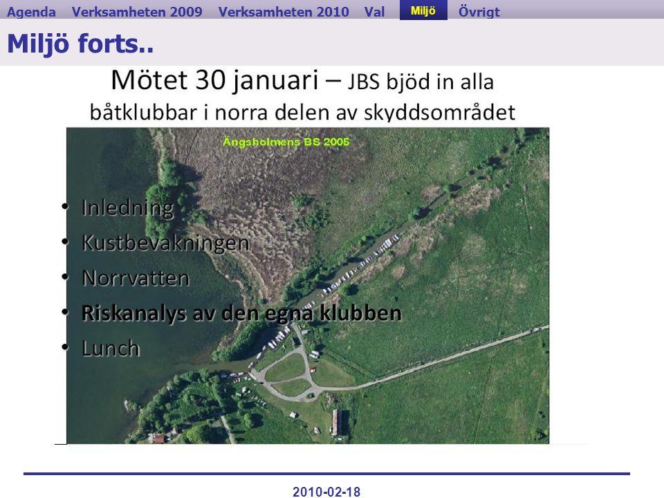 Verksamheten 2009ValVerksamheten 2010MiljöAgendaÖvrigt 2010-02-18 Miljö forts.. Miljö