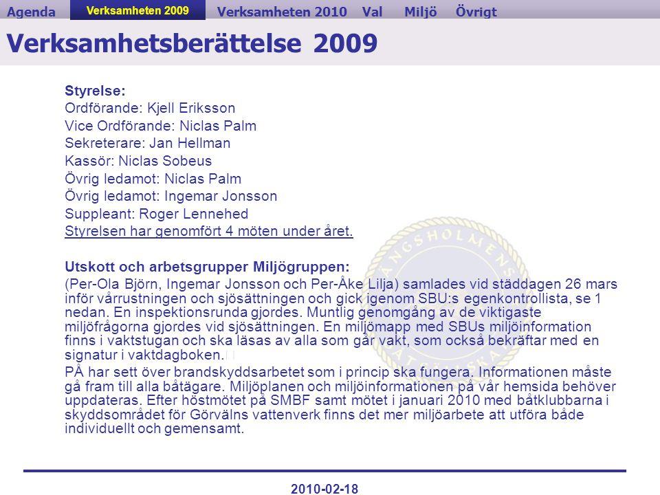 Verksamheten 2009ValVerksamheten 2010MiljöAgendaÖvrigt 2010-02-18 Verksamhetsberättelse 2009 Styrelse: Ordförande: Kjell Eriksson Vice Ordförande: Nic