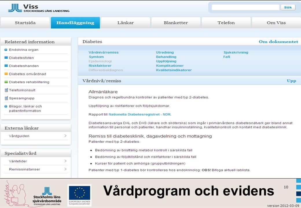 v ersion 2012-03-09 10 Vårdprogram och evidens