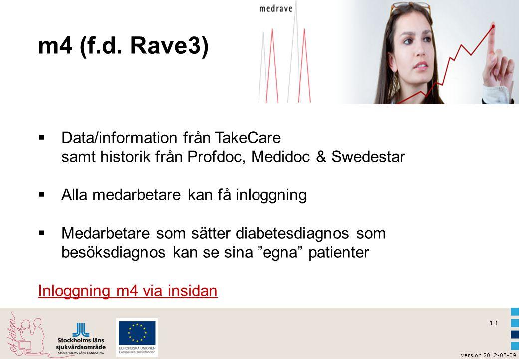 v ersion 2012-03-09 13 m4 (f.d. Rave3)  Data/information från TakeCare samt historik från Profdoc, Medidoc & Swedestar  Alla medarbetare kan få inlo