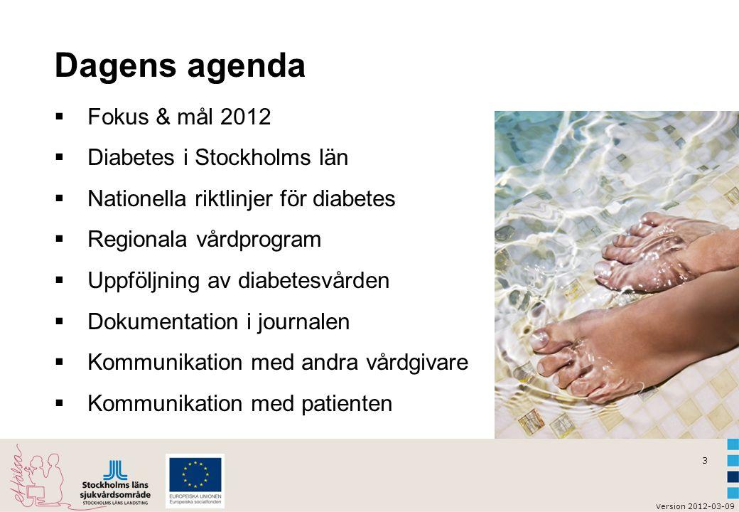 v ersion 2012-03-09 3 Dagens agenda  Fokus & mål 2012  Diabetes i Stockholms län  Nationella riktlinjer för diabetes  Regionala vårdprogram  Uppf