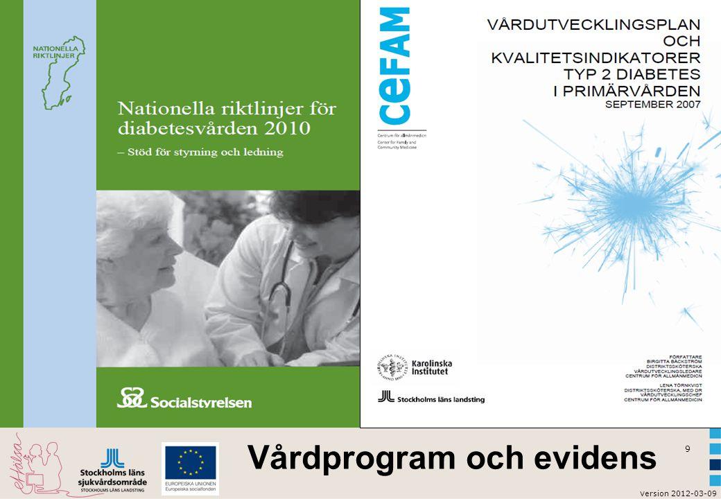 v ersion 2012-03-09 9 Vårdprogram och evidens