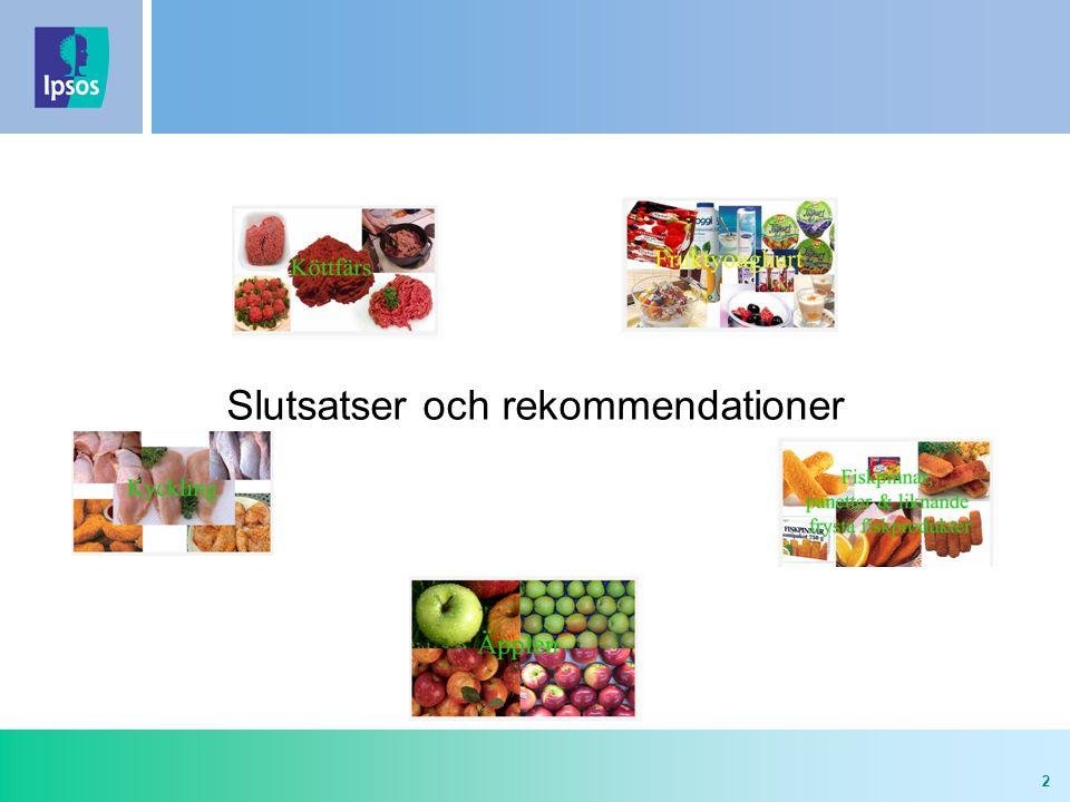 3 Slutsatser och rekommendationer - Generellt - Generellt  Rent generellt är det viktigt att livsmedlet * är hälsosamt ** och har ett acceptabelt pris, när konsumenter står inför ett val.