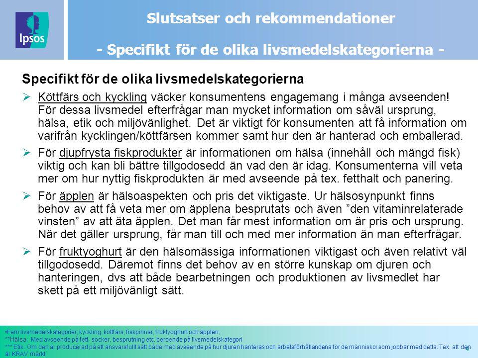 4 Slutsatser och rekommendationer - Specifikt för de olika livsmedelskategorierna - Specifikt för de olika livsmedelskategorierna  Köttfärs och kyckling väcker konsumentens engagemang i många avseenden.