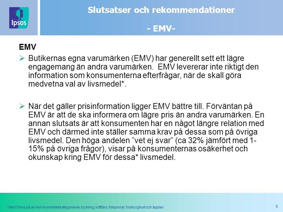 5 EMV  Butikernas egna varumärken (EMV) har generellt sett ett lägre engagemang än andra varumärken. EMV levererar inte riktigt den information som k