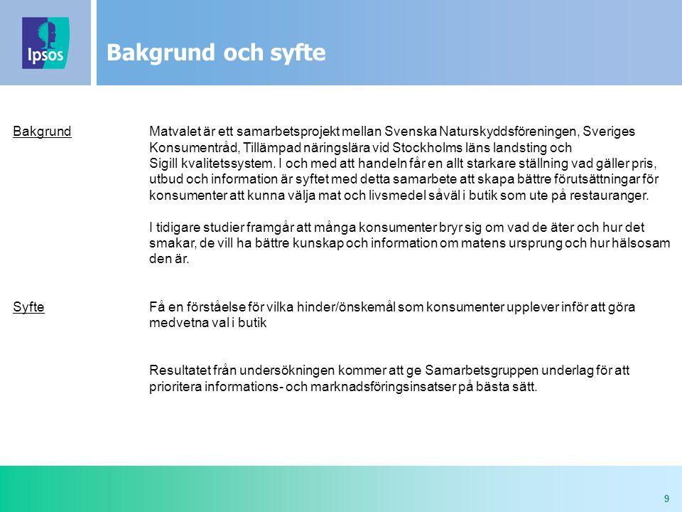 9 Bakgrund och syfte BakgrundMatvalet är ett samarbetsprojekt mellan Svenska Naturskyddsföreningen, Sveriges Konsumentråd, Tillämpad näringslära vid Stockholms läns landsting och Sigill kvalitetssystem.