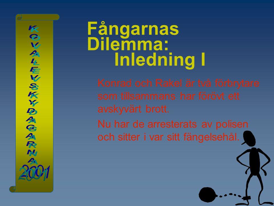 Fångarnas Dilemma: Inledning I Konrad och Rakel är två förbrytare som tillsammans har förövt ett avskyvärt brott. Nu har de arresterats av polisen och
