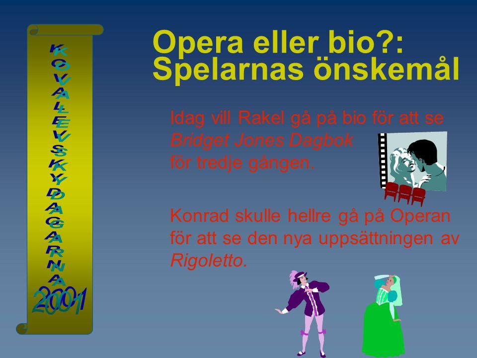 Opera eller bio?: Spelarnas önskemål Idag vill Rakel gå på bio för att se Bridget Jones Dagbok för tredje gången. Konrad skulle hellre gå på Operan fö